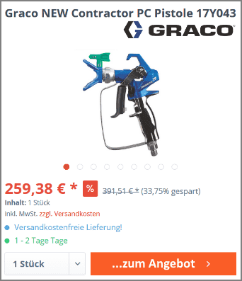 Graco NEW Contractor PC Pistole 17Y043