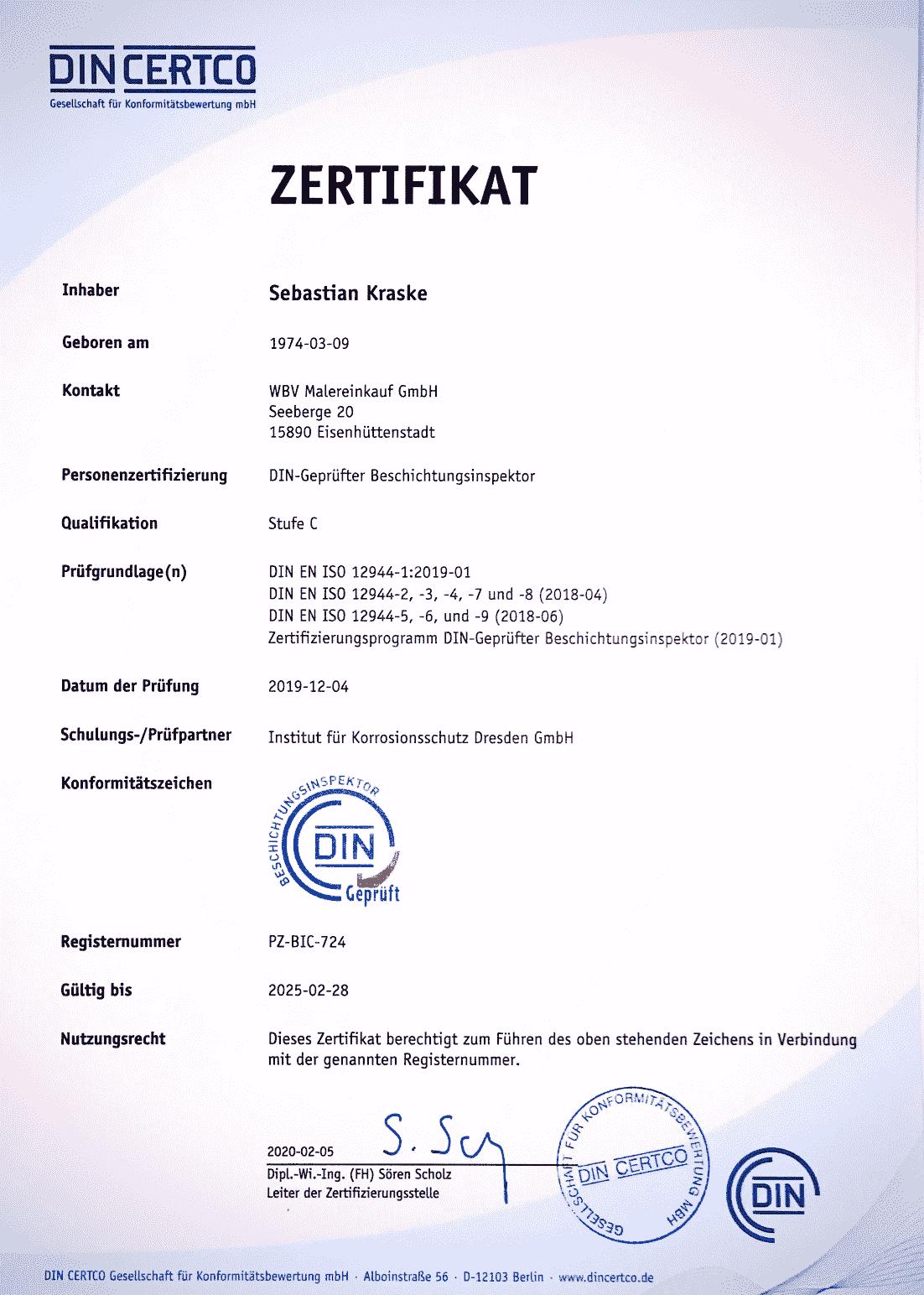 DIN-Geprüft-Beschichtungsinspektor Zertifikat